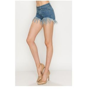 🍩Med Wash Denim Mid Rise Shorts with Fray Detail
